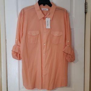 NWT CALVIN KLEIN Salmon Color Button down Shirt